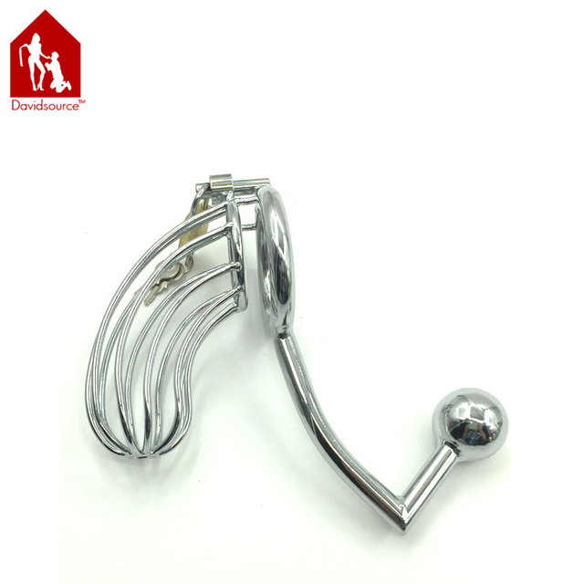 Davidsource Metal Chastity Lock With Butt Plug  Pubic Enemy Virginity Lock Male Penis Torture Kit Fetish Men Sex Toy