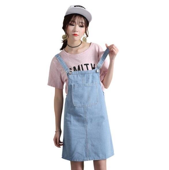 e5f7a76dc4f52 Vestidos 2019 Spring Summer Sweet Jeans Dress Vintage Jean Sundress Loose  Spaghetti Strap Dress Streetwear Mini