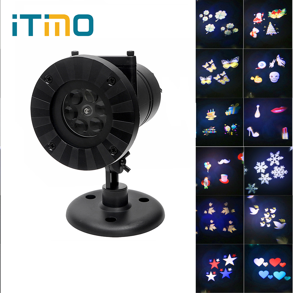 ITimo LED Stage Lamp Waterproof Holiday Decor Christmas Laser Snowflake Projector Outdoor Star Light Home Garden 12 Patterns