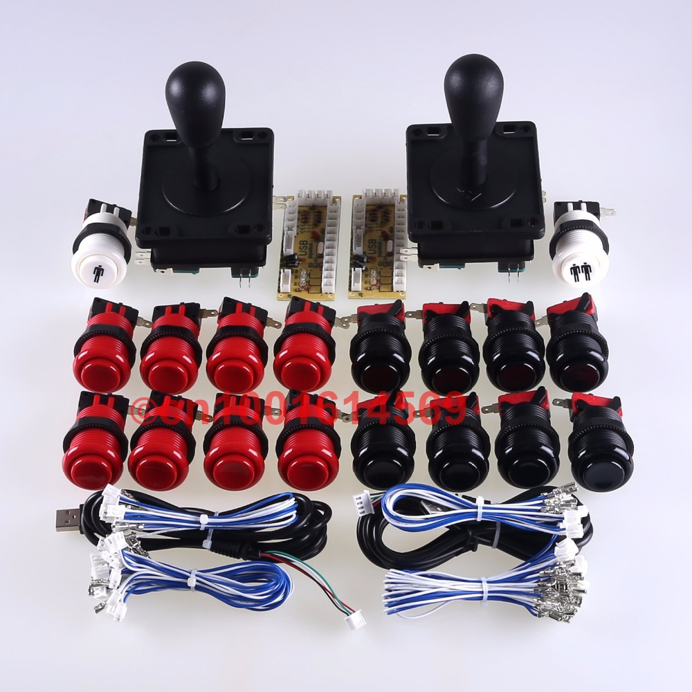 цена New Easyget Arcade Game DIY Bundles for Mame Games USB Encoder Board + 2 x Joystick + 18 x Arcade Button Black + Red Color Kits в интернет-магазинах
