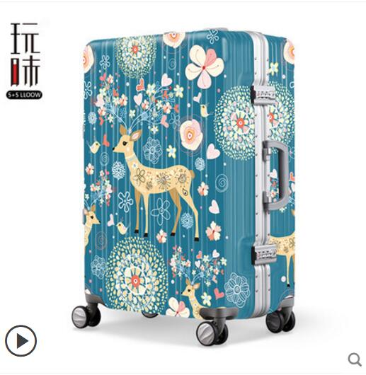 Cartoon printing pull-box pull-box 24in suitcase universal wheel small and fresh luggage pull-bar new design professional universal wheel rod makeup box men and women pull rod