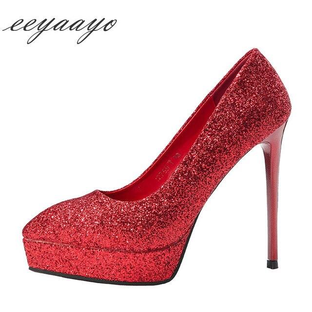 2019 New Spring/Autumn Women Pumps High Thin Heels Pointed Toe Sexy Bling Bridal Wedding Women Platform Shoes Red High Heels