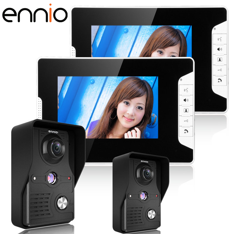 ENNIO SY813MK22 7 Video Intercom Apartment Door Phone System 2 White Monitors 2 HD Camera for 2 Household In Stock WSY813MK22