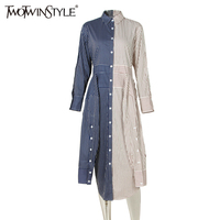 TWOTWINSTYLE Novelties Striped Midi Party Dress Shirt Long Sleeve Lace Up Women Dresses Female Patchwork Tunic