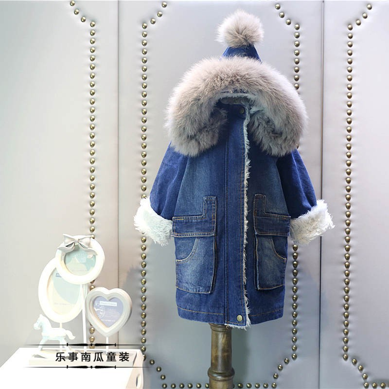 new fake fur baby girls coat kids denim jacket winter coat for girl children clothing long coat baby girls jacket manteau fille