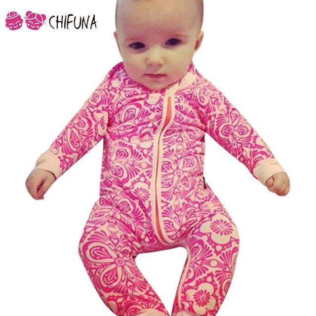 Romper do bebê Com Padrão Floral Rosa Desgaste Do Bebê Roupas de Recém-nascidos Menino Veste Casaco Outwear Meninas Do Bebê Criança Pequena