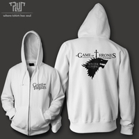 Free Shipping Game Of Thrones Winter Is Coming Men Unisex Zip Up Hoodie 10 3oz Weight