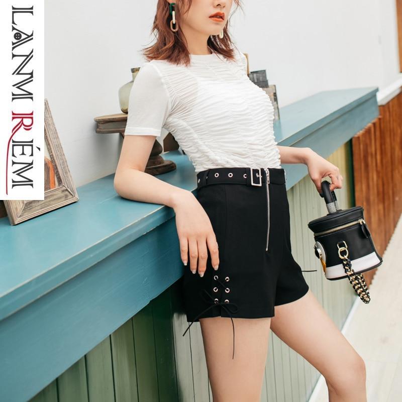 LANMREM 2019 New Summer Fashion Women Vintage Clothes Zippers High Waist Belts Female Hot   Shorts   Street Wear WG58801L