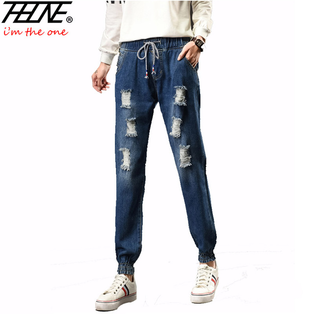b7600940091 2017 Spring Women Jeans Ripped Denim Pants Jogger Jeans Fashion Holes  Casual Trousers Torn Elastic Waist Plus Size Jeans Female