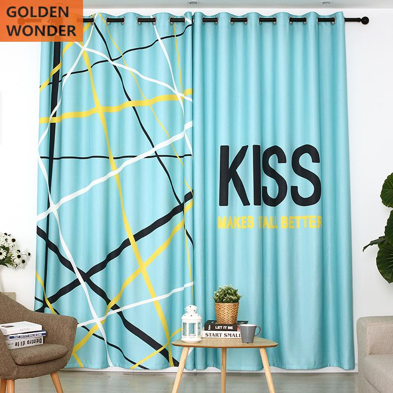 Modern Simple Shade Customized Finished Curtains For Bedroom Kids Blue Cloth
