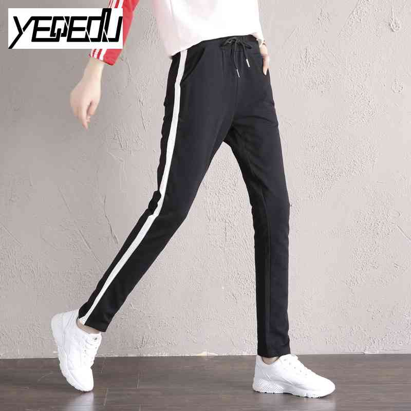 d4084146e #2310 2018 Spring Harem pants women Side stripe Lightweight Sweat pants  girls Stretch cotton Sarouel femme Pantalon mujer-in Pants & Capris from  Women's ...