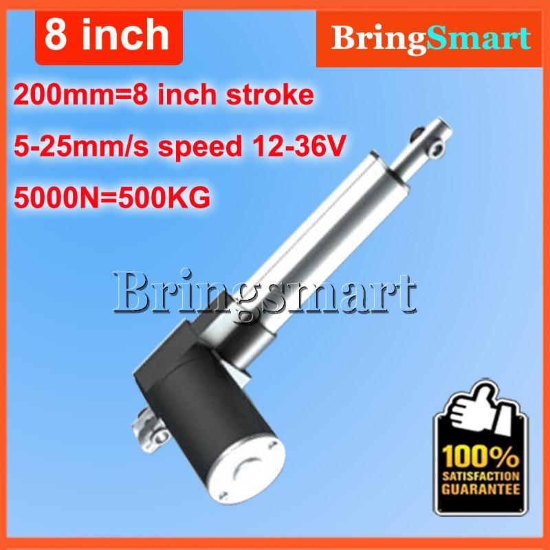 ФОТО Wholesale 12-36V 200mm linear actuator 12V 8 inch 5000N 500KG Load 5-30mm/s Customized Speed mini electric 24v Tubular Motor