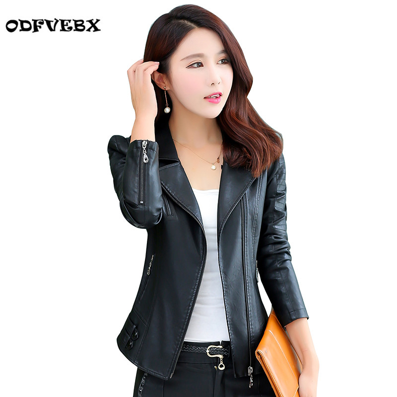 2018 Spring Autumn New Pu Leather Coats Female Short Slim Fashion