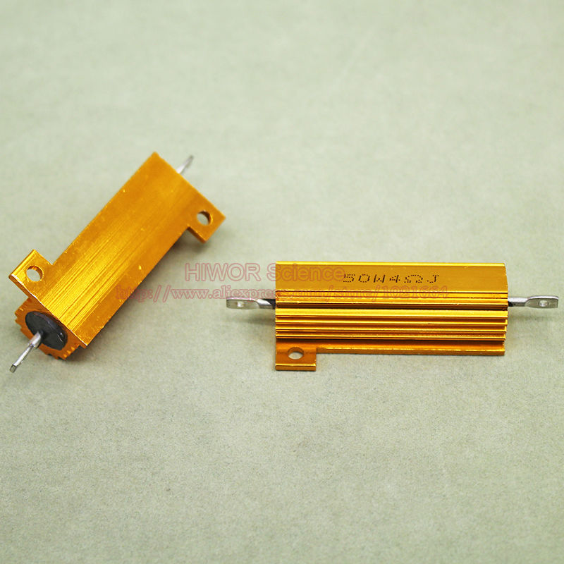 (2pcs/lot) RX24 4 Ohm 4R 50W 50Watts Aluminium Housed High Power Resistor Metal Shell He ...