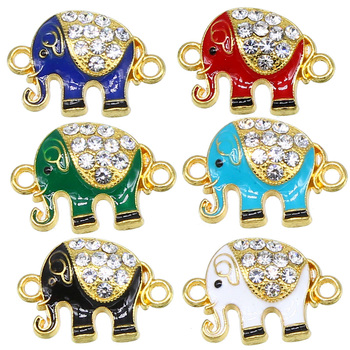 6pcs Elephant Bracelet Accessories Connector DIY Handmade Drip Gold and Silver Glamour Craft 24*16*5mm