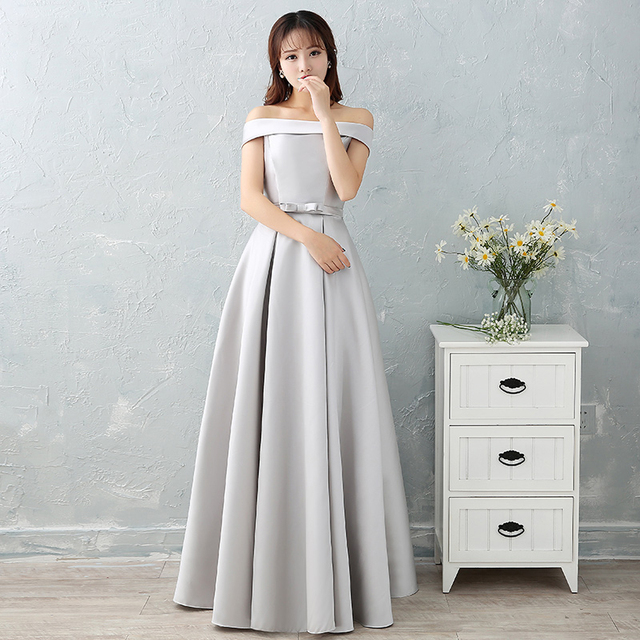 #Luxury Sliver Satin Long #Evening #Dresses #Prom Robe #Party #Gown #girl #grl #boygrl #fashion 3