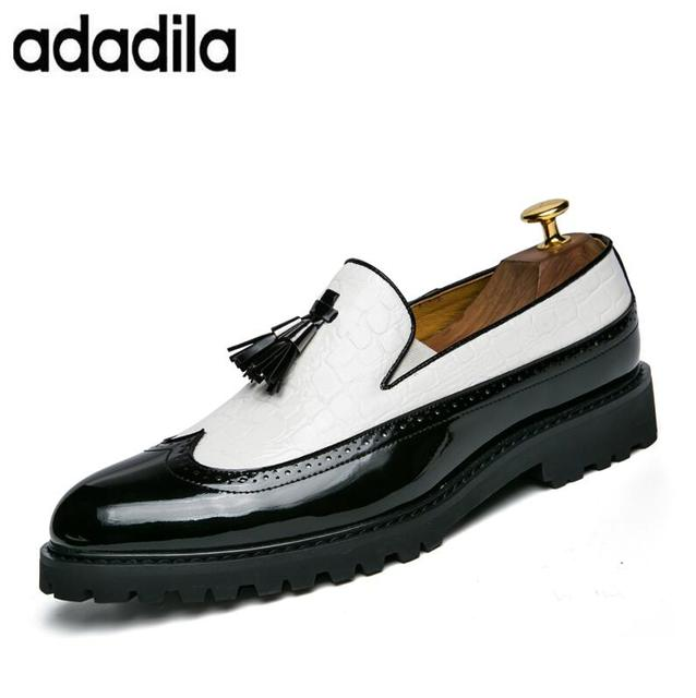 Black White Tassel Men Bullock Dress Shoes Patent Leather Luxury
