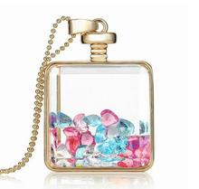 Hot sale glass perfume pendant necklace with colorful birthstone inside