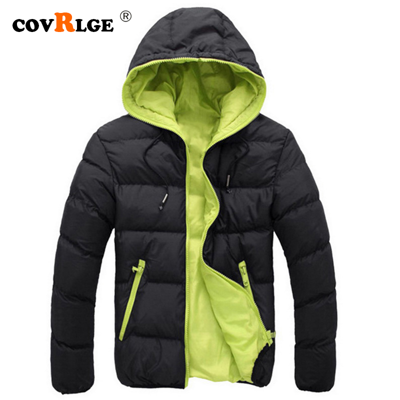 Covrlge 2019 Winter Warm Doudoune Homme Fashion Solid Down Jacket Men Casual Zipper Parka Hooded Plus Size Canada Jacket MWM074(China)