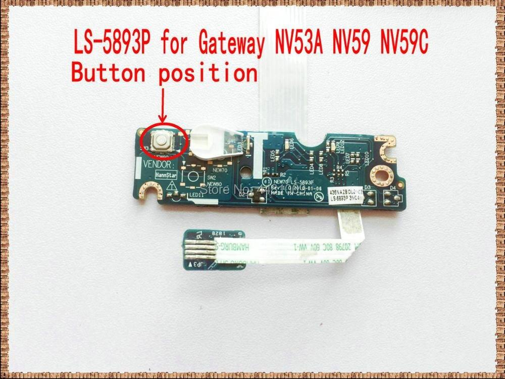 Para gateway nv53a nv59 nv59c posição do botão aspire 5741 5741g 5742 5552 new70 placa de botão de energia com cabo LS-5893P trabalhos