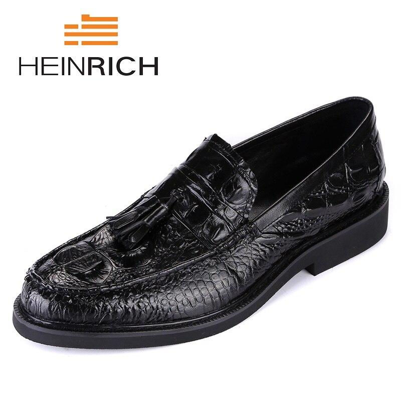 Genuino rosy Formal Heinrich De Mocasines Zapatos Cuero Negro Hombres Pria Masculino Casual Black Lujo Red Cocodrilo Moda Diseñador Sepatu ZTTqwI4