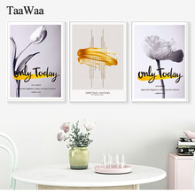 TaaWaa Nordic Modern Abstract Black and White Flower Canvas Poster Gold Creative European Decorative Wall Art For Home Decor