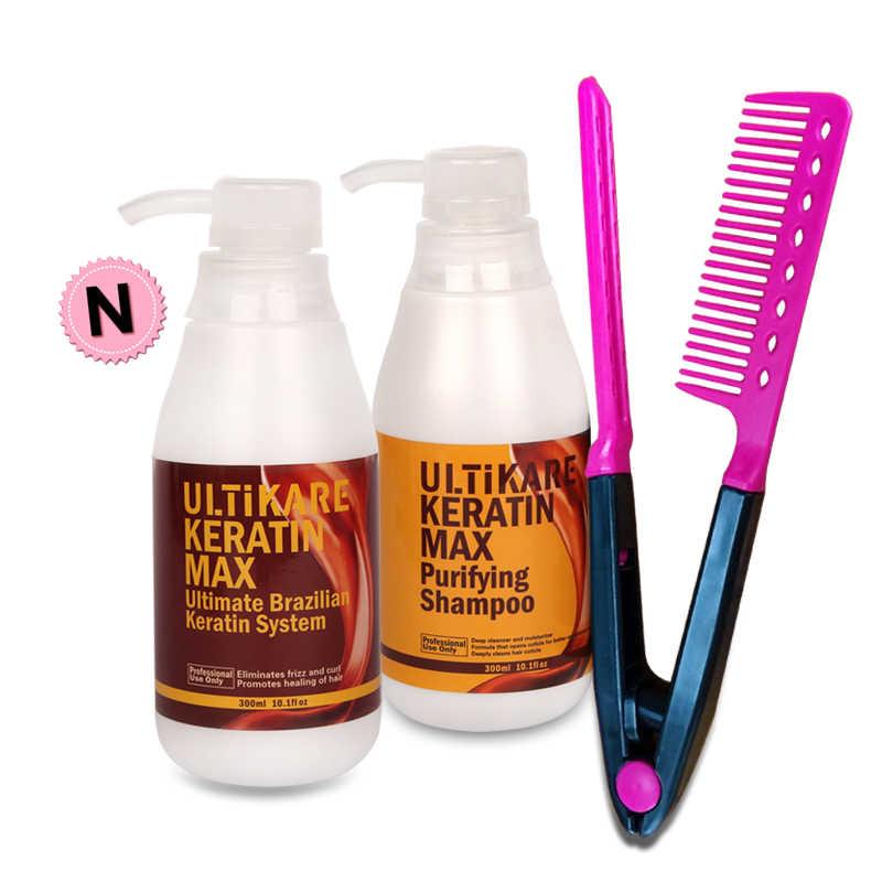 Oferta, tratamiento de queratina brasileña de formalina 300ml, tratamiento para alisar cabello Cruly Normal + champú purificador de 5% ml + peine rojo gratis