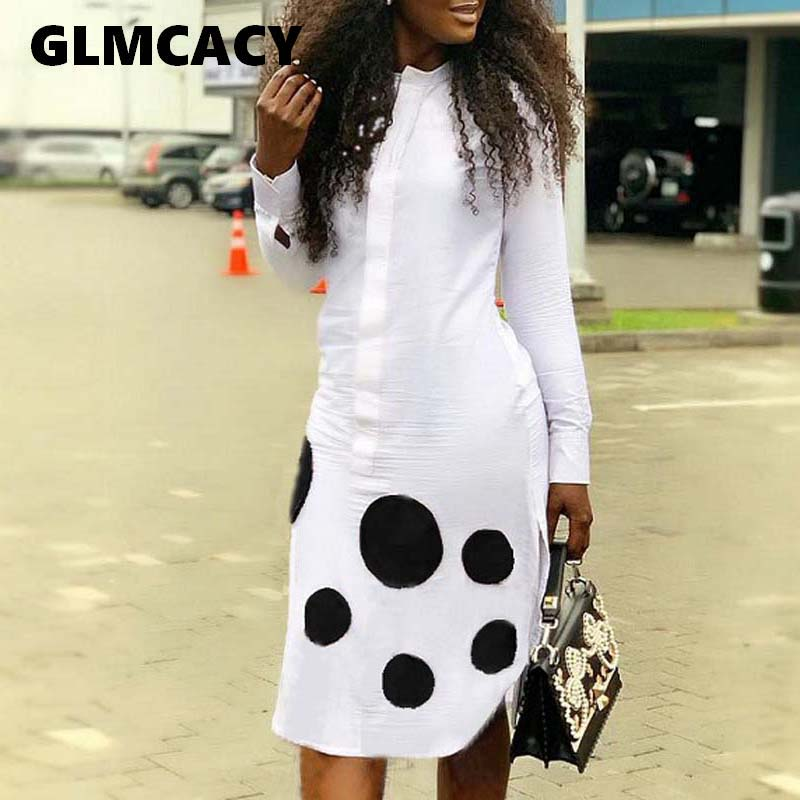 0a4eefa668ec464 Для женщин Повседневное весна платье-рубашка в горошек с длинным рукавом  клобук шеи по колено миди Повседневное платье Офисные женские туф.