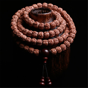 High Quality Natural Five-petal Tibetan 108 Rudraksha Beads Mala Lobular Red Sandalwood Triplet Buddhist Jewelry Yoga Bracelet