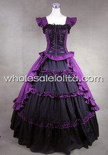 Black and Purple Classic Gothic Victorian Dress