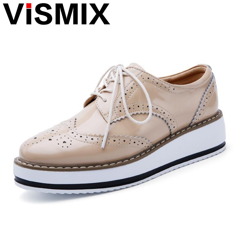 VISMIX 2017 Spring Women Platform Shoes Woman Brogue Patent Leather Flats Lace Up Footwear Female Flat Oxford Shoes For Women qmn women genuine leather platform flats women lace cut glossy leather square toe brogue shoes woman lace up leisure shoes 34 39