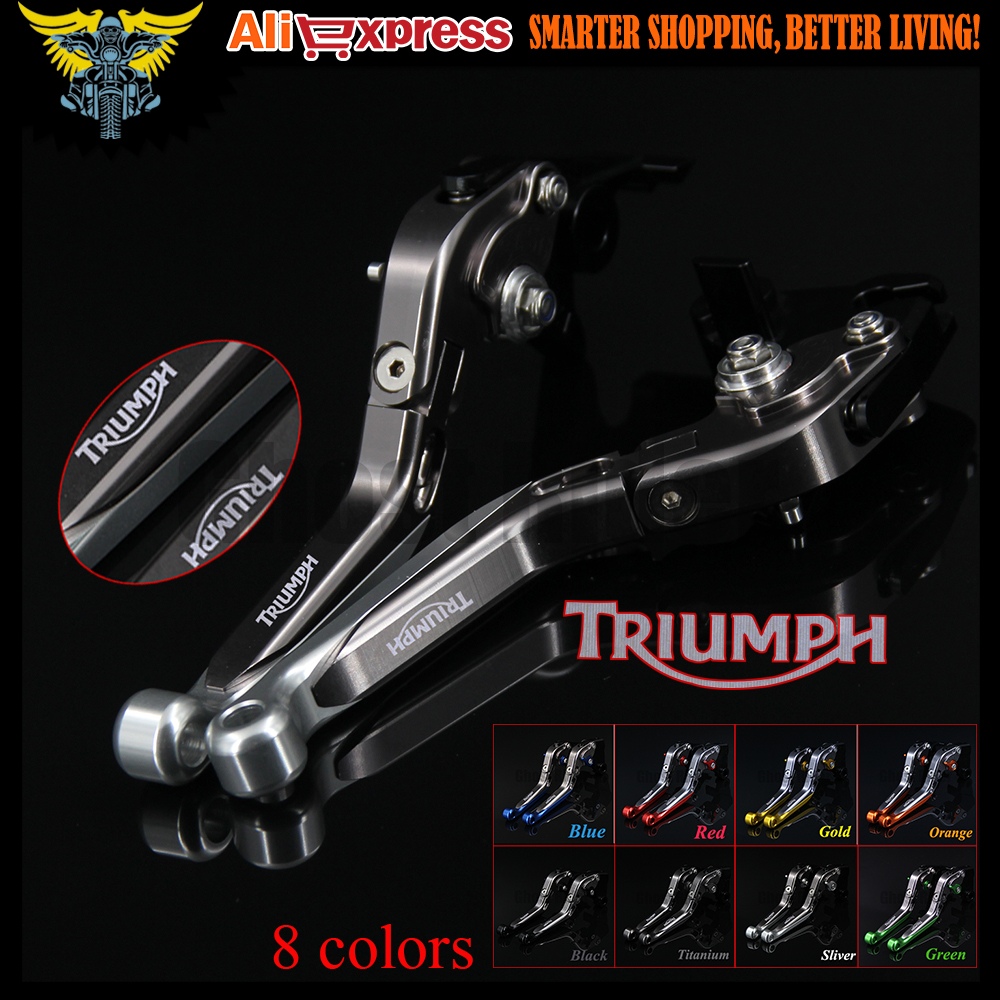 ФОТО Sliver+Titanium CNC  Adjustable Folding Extendable Motorcycle Brake Clutch Levers For Triumph TIGER 800 XC/XCX/XR/XRX 2015 2016