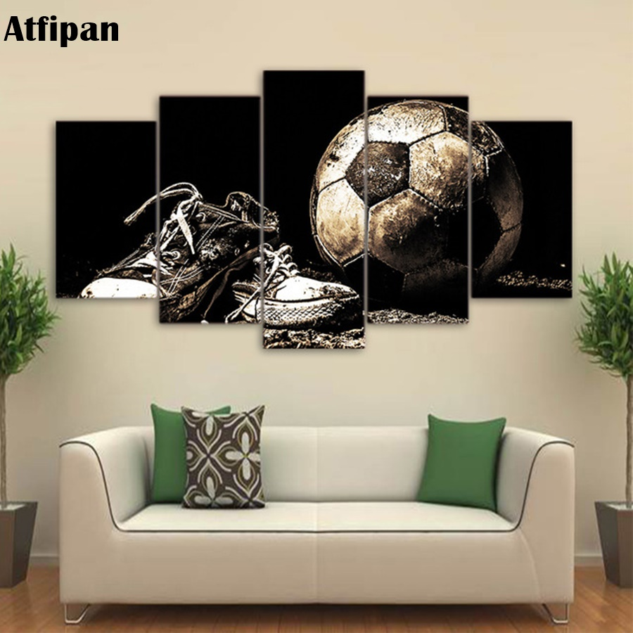 Atfipan Framed Wall Modular Pictures For Living Room Decorative Popular 5 Panel Soccer Abstract Photo HD Poster Canvas Painting