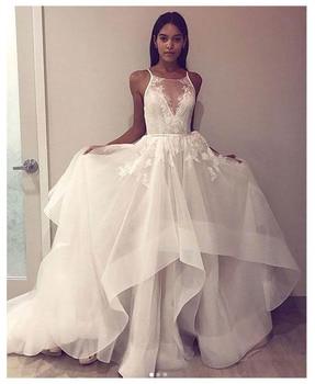 d635d44dd Elegante Informal vestidos de boda sin mangas 2019 vestido de novia espalda  abierta Blanco Marfil vestidos de boda