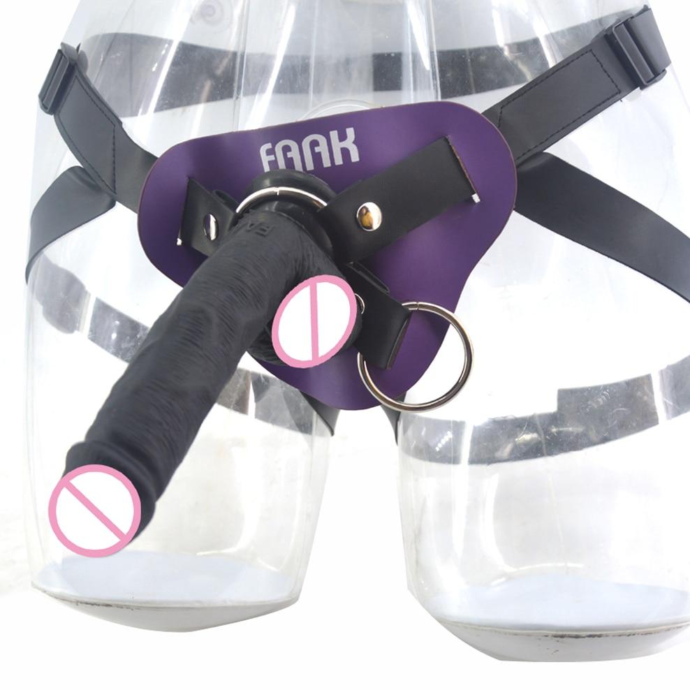 FAAK silicone réaliste godemiché avec ventouse strapon gode bracelet en cuir sur pénis femmes masturbateur sex toys shop anal godemiché