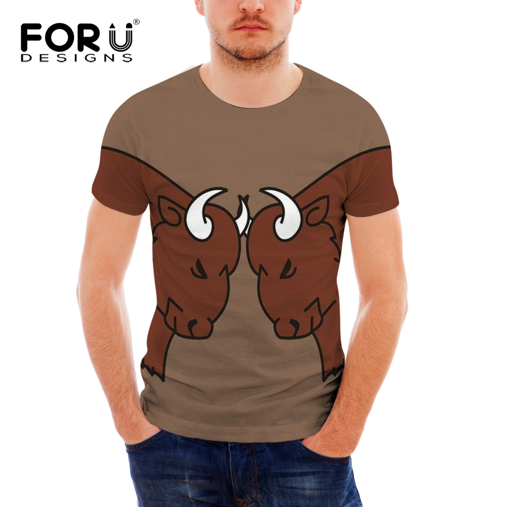FORUDESIGNS Animal Buffalo Cow Printing Men Summer T shirt Males Funny O-neck T-shirt for Teen Boy Fashion Short Sleeve Tops Tee