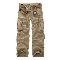 GSPBG 2017 Fashion Men Military Tactical Cargo Pants Casual Loose Baggy Cotton Pockets Combat Swat Army