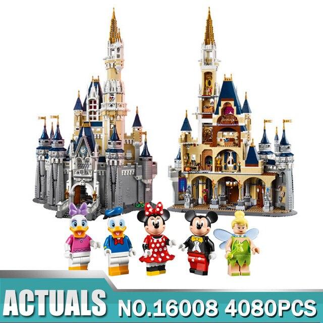 Model building kits compatible with lego 71040 Cinderella Princess Castle City 4080Pcs 3D Bricks figure model building toys сказочный замок дисней лего