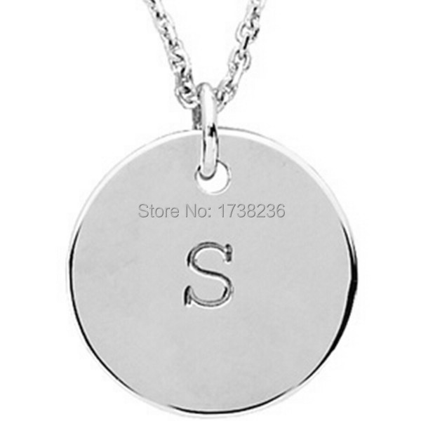 50pcs lots sale initial letter s round disc charm necklace personalized customizedchina mainland