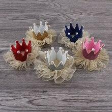 30ピース/ロット5色新生児3dフェルト子供王冠+メッシュ花用女の子ヘアアクセサリーグリッターフェルトクラウン用最初の誕生日帽子
