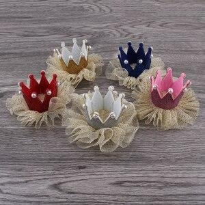 Image 1 - 30 teile/los 5 farben Newborn 3D Filz Kinder Crown + Mesh Blume Für Mädchen Haarschmuck Glitter Fühlte Krone Für ersten Geburtstag Hut