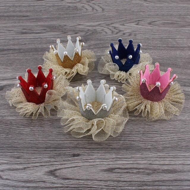 30 teile/los 5 farben Newborn 3D Filz Kinder Crown + Mesh Blume Für Mädchen Haarschmuck Glitter Fühlte Krone Für ersten Geburtstag Hut