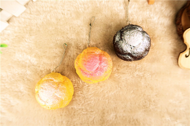 imágenes para 24 unids (14 rosa + 8 café + 2 normal) original 5 cm Lindo Soplo de Polvo de Azúcar Pan blando correa del teléfono Lento Aumento envío libre