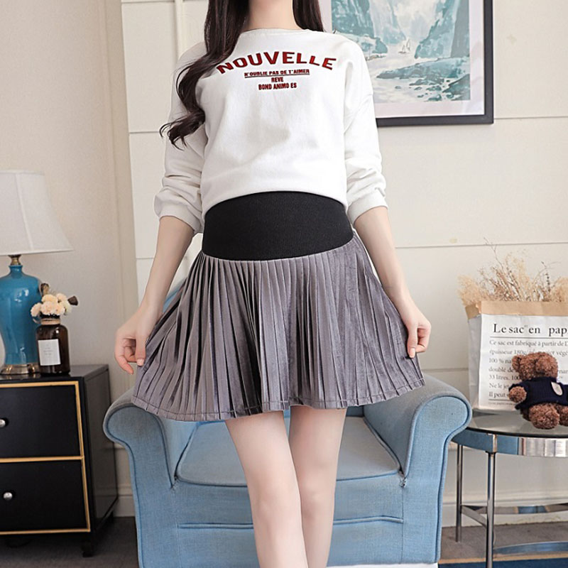 Maternity Wear 2019 Autumn New Fashion Korean Version Of The Tide Mother Wild Skirt Pregnant Women Stomach Lift Pleated Skirt