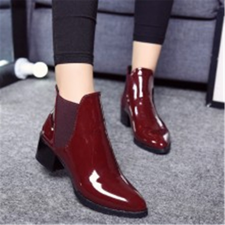 Shoes Women Boots Low-Heel Elasticated Pointed Sexy Fashion Patent New-Arrival Ankle