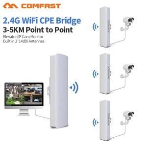 Image 1 - 3 5 キロ長距離 300 150mbps の屋外無線 lan ルータ cpe 2 * 14dBi 無線 lan アンテナハイパワー 2.4 3g wifi リピータ rj45 poe ワイヤレスブリッジ