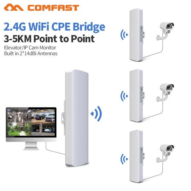 3 5 キロ長距離 300 150mbps の屋外無線 lan ルータ cpe 2 * 14dBi 無線 lan アンテナハイパワー 2.4 3g wifi リピータ rj45 poe ワイヤレスブリッジ