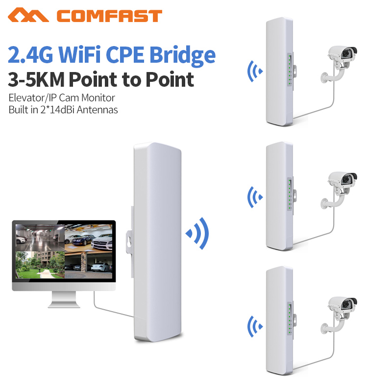 3-5km Jarak Jauh 300 Mbps Wifi Luar Router CPE 2 * 14dBi Wifi Antena daya Tinggi 2.4g WIFI Repeater rj45 poe Wireless bridge