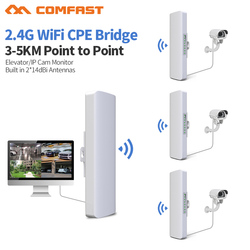 3-5km Long Distance 300Mbps Outdoor Wifi Router CPE 2*14dBi Wifi Antenna High power 2.4g WIFI Repeater rj45 poe Wireless bridge
