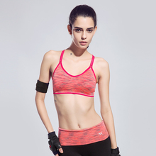 Women Sleeveless Yoga Shirts Tank Tops Fitness Padded Push Up Sport Bras Running Shockproof Strap Space Dyeing Ladies Underwear